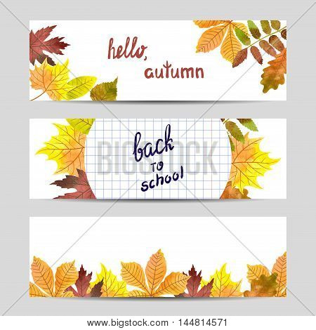Set of colorful autumn banners with watercolor leaves. Vector fall illustration.