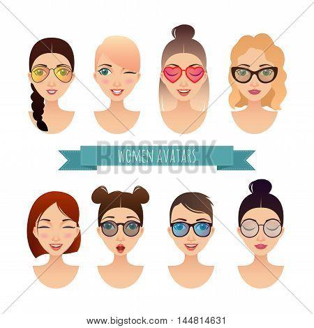 Set of vector women avatars for your design
