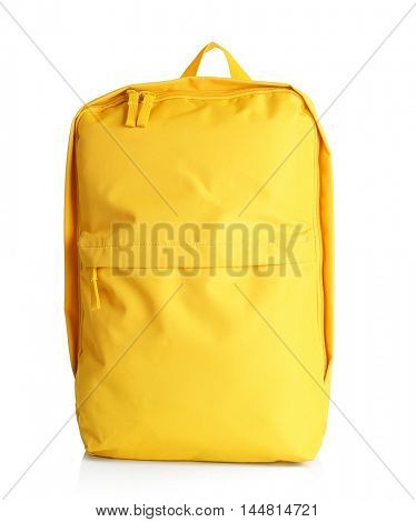 Yellow backpack on white background