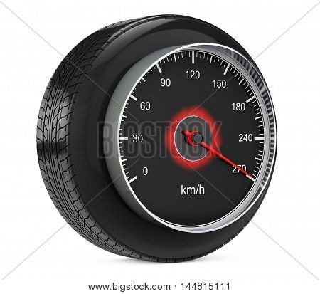Speedometer in Car Wheel Tyre on a white background. 3d Rendering