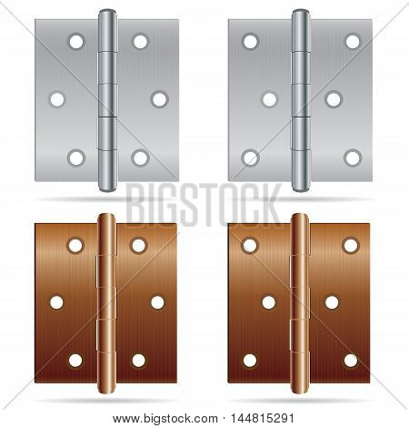 Hinges Design. Stainless steel hinges and bronze color hinges on white background.