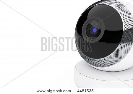 White Computer Spherical Web Camera on a white background. 3d Rendering