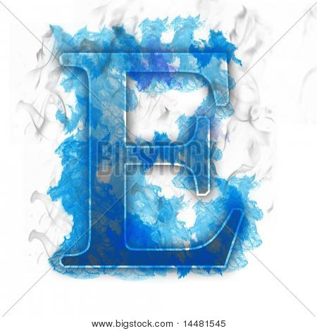 Burning Letter with Blue true flames and smoke