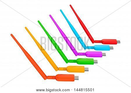 Multicolour Wireless USB 3G 4G Modems on a white background. 3d Rendering