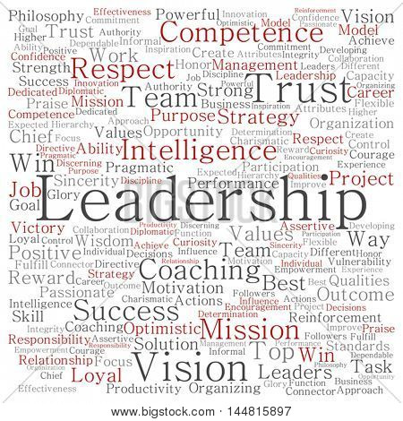 Vector concept or conceptual business leadership or management square word cloud isolated on background