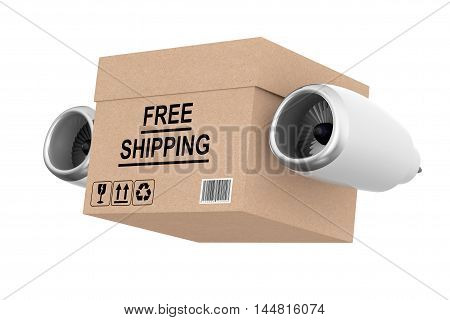 Aircraft Jet Engine Express Delivery Free Shipping Box on a white background. 3d Rendering