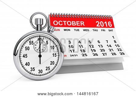 2016 year calendar. October calendar with stopwatch on a white background. 3d rendering
