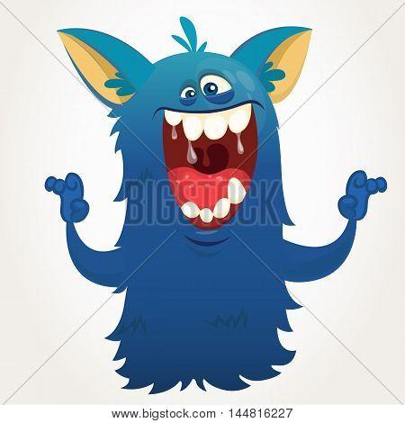 Cute cartoon monster. Vector Halloween bigfoot character
