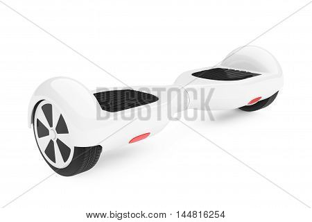 White Self Balancing Electric Scooter on a white background. 3d Rendering