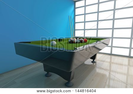 Billiard Table with Balls Set and Cue in front of blue wall. 3d Rendering