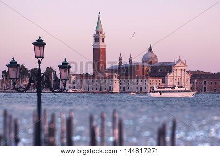 Venezia (Venice). View of island of Saint George and Basilica de San Giorgio Maggiore. Italy.