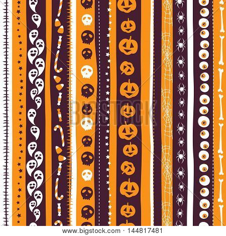 Orange, White And Pirple Seamless Background Abstract Striped Pattern For Halloween With Pumpkin,  C