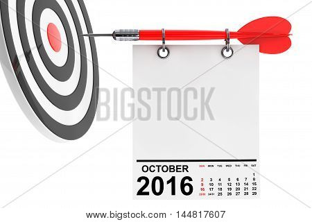 Calendar October 2016 on blank note paper with free space for your text with target. 3d Rendering