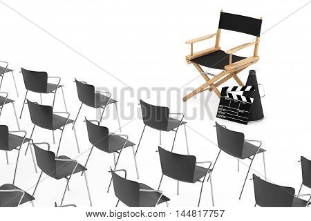 Office Chairs in front of Cinema Director Chair Movie Clapper and Megaphone on a white background. 3d Rendering