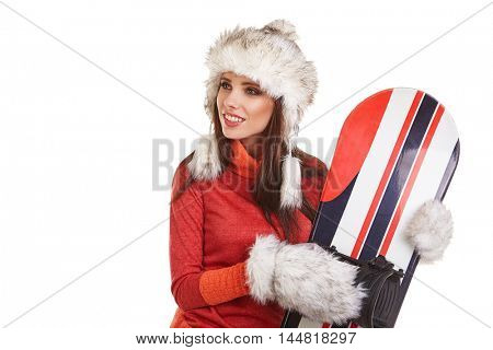a beautiful sexy woman with a snowboard in studio