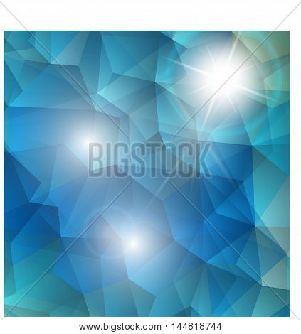 Vector abstract background polygonal shape with bright white light