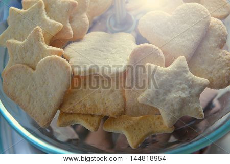 Nut cookies in the form of stars and hearts