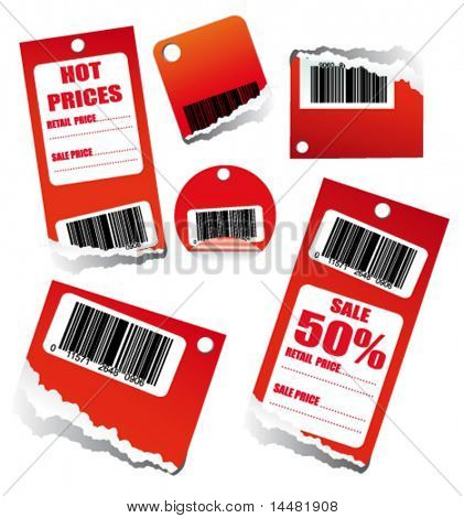 VECTOR Red Sales Tag with Space for text and barcode