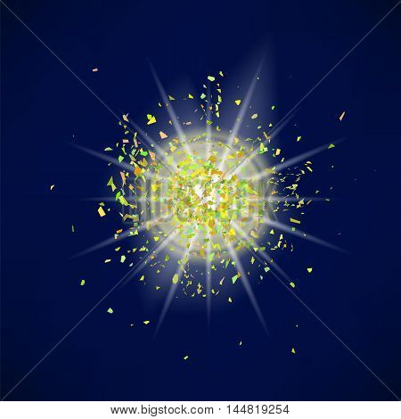 Sparkling Texture. Star Flash. Glitter Particles Pattern. Explosion on Blue Background. Star Dust.