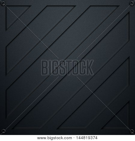scifi wall. metal wall and black carbon fiber. metal background and texture 3d illustration. technology concept.