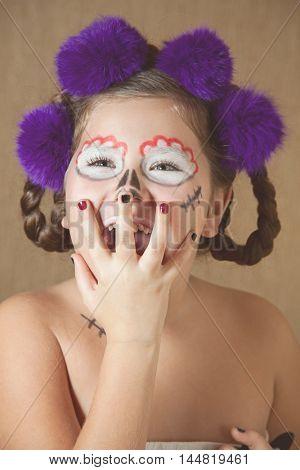 portrait of girl in skeleton make-up. Halloween style