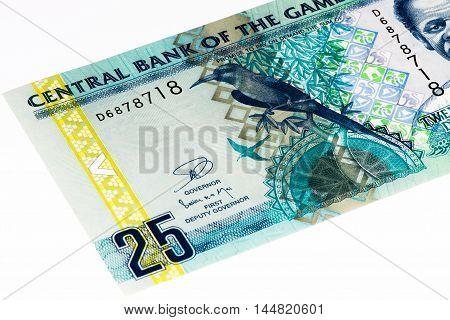 25 Gambian dalasi bank note. Gambian dalasi is the national currency of Gambia