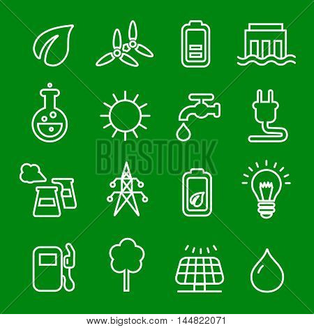 Thin line icons set of power and energy symbol, natural renewable energy technologies as solar, wind, water.