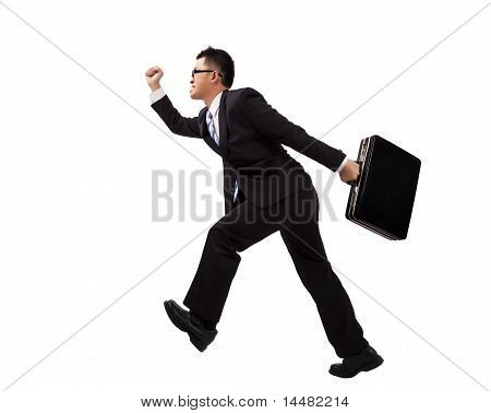 Businessman running with suitcase.Isolated with white background.