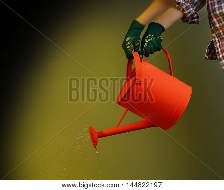 Hands in gloves pouring water from watering can on color background