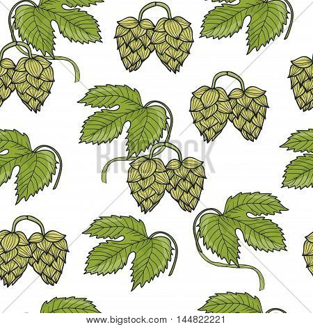Hand drawn Hops seamless pattern. Vector background with green hop branches, leaves and cones.