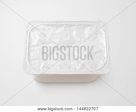 Top View Of Rectangular Aluminum Foil Cover Food Tray On Gray