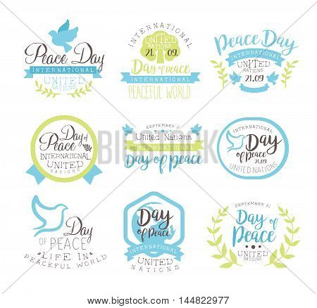 World Peace Day Set Of Label Designs In Pastel Colors. Vector Logo Templates With Text On White Background.