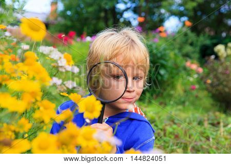kids learning - little boy exploring flowers in the garden with magnifying glass