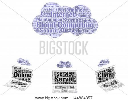 Cloud computing concept with a white background