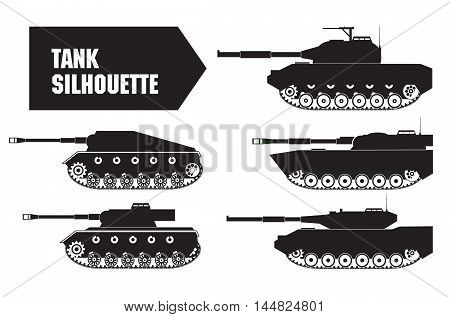 Vector the flat military tank with a gun and a machine gun. For infographic, the historical websites andmagazines.Element for games