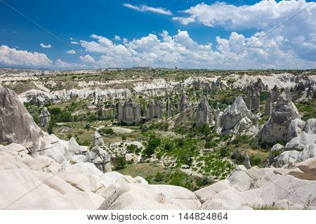 Stone formations in Love valley in Cappadocia Central Anatolia Turkey