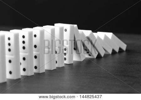 Dominoes on grey table