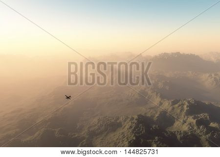 Private Plane Over Misty Mountains At Dawn