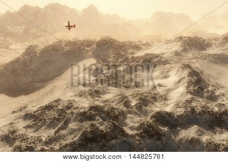 Red Airplane Over Snow Mountains In Mist