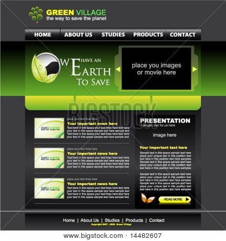Eco style website green template for environmental purpose sites