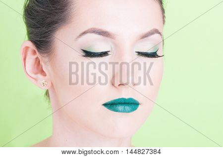 Portrait Of Girl Posing With Professional Trendy Make-up