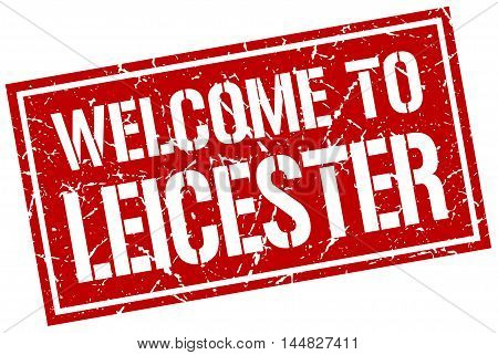 welcome to Leicester. stamp. grunge square sign