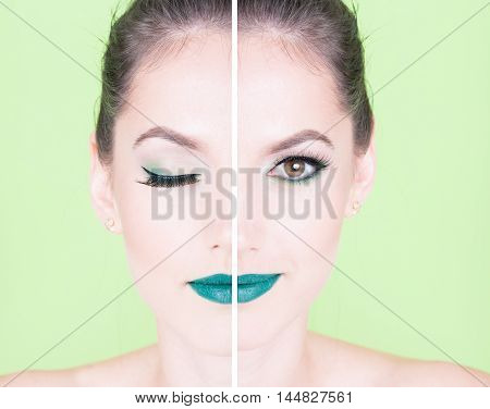 Concept Of Half Face Woman With Trendy Make Up