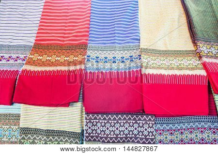 Traditional patterns clothing of sarong in Thailand