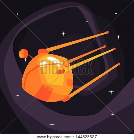 Old-school orange Satellite Flying On Orbit On Dark Night Sky Background. Cool Colorful Cosmic Fantasy Vector Illustration In Stylized Geometric Cartoon Design
