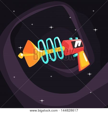 Fantastic Blaster Gun Pistol On Dark Night Sky Background. Cool Colorful Cosmic Fantasy Vector Illustration In Stylized Geometric Cartoon Design