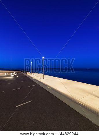 Promenade at Aarhus in Denmark, night scene