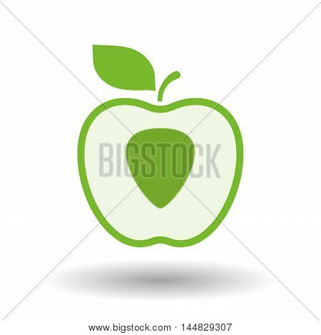 Isolated  Line Art  Apple Icon With A Plectrum