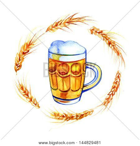 glass mug pint of beer with wheat hand drawn watercolor.