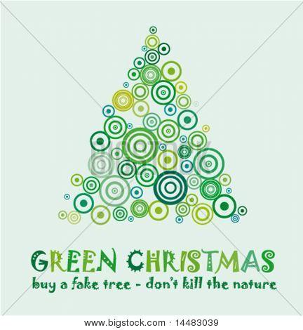 Green Christmas Card zu feiern und Eco 25. Dezember mit einem gefälschten Baum ohne töten ein echte Baum!